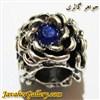 آویز نقره گردنبند و دستبند پاندورا طرح گل با نگینهای آبی پر رنگ