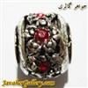 آویز نقره گردنبند و دستبند پاندورا طرح گل با نگینهای قرمز