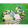 کیف کتانی دست دوز سبز کمرنگ با سبد و گلهای ابریشمی رنگارنگ