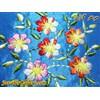کیف ابریشم دست دوز آبی کمرنگ با گلهای زیبای رنگارنگ