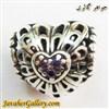 حلقه نقره دستبند و گردنبند پاندورا طرح قلب با سنگهای آمیتیست لوکس