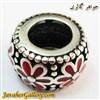 حلقه نقره دستبند و گردنبند پاندورا با طرح گلهای قرمز