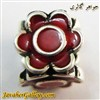 حلقه گردنبند و دستبند نقره پاندورا قرمز طرح گل