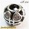 حلقه گردنبند و دستبند نقره پاندورا طرح قلب با نگینهای کوارتز زیبا
