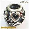 حلقه گردنبند و دستبند نقره پاندورا طرح قلب با نگینهای یاقوت لوکس و زیبا