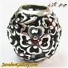 حلقه گردنبند و دستبند نقره پاندورا با طرح گل و نگینهای یاقوت زیبا