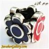 حلقه دستبند و گردنبند نقره پاندورا با گلهای قرمز و آبی