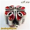 حلقه دستبند و گردنبند نقره پاندورا طرح گل خاص قرمز