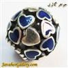 حلقه گردنبند و دستبند نقره پاندورا با قلبهای کوچک آبی و سفید