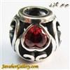 حلقه گردنبند و دستبند نقره پاندورا با طرح زیبا و نگینهای یاقوت قلبی
