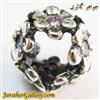 حلقه دستبند و گردنبند نقره پاندورا طرح گل با نگینهای آمیتیست صورتی