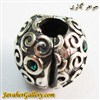 حلقه گردنبند و دستبند نقره پاندورا اصل باز شو با طرح زیبا و کوارتز سبز