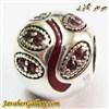 حلقه نقره گردنبند و دستبند pandora پاندورا اصل با سنگهای یاقوت قرمز طرح لوکس