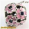 حلقه نقره گردنبند و دستبند pandora پاندورا اصل با سنگهای یاقوت کبود و گلهای صورتی زیبا