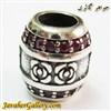 حلقه نقره گردنبند و دستبند pandora پاندورا اصل استوانه ای طرح گل و سنگهای یاقوت سرخ