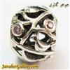 حلقه نقره گردنبند و دستبند pandora پاندورا اصل طرح طاووس با سنگهای کوارتز صورتی