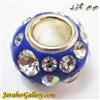 مهره گردنبند و دستبند نقره پاندورا آبی پر رنگ با نگینهای درخشان