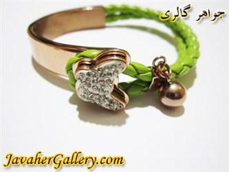 دستبند استیل چرمی سبز نگین دار پروانه ای دخترانه