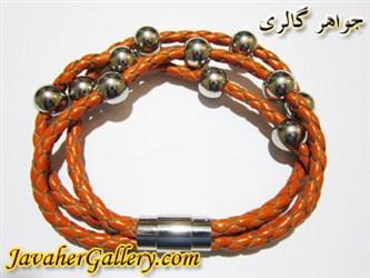دستبند استیل چرمی نارنجی سه رشته ای