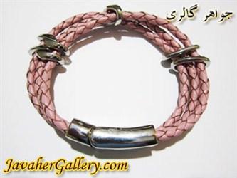 دستبند استیل چرمی صورتی سه رشته ای