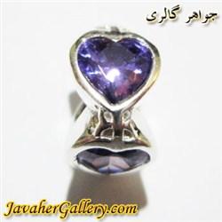 حلقه نقره پاندورا آمیتیست طرح قلب زیبا