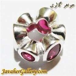 حلقه نقره پاندورا با یاقوتهای گرد و بیضی زیبا