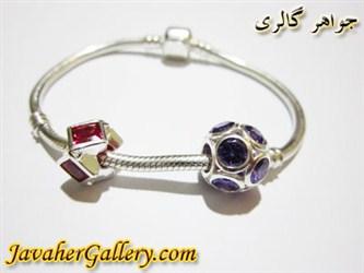 دستبند نقره پاندورا با سنگهای آمیتیست و یاقوت بسیار زیبا