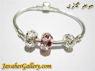 دستبند نقره پاندورا با حلقه یاقوت و حلقه های نقره بسیار زیبا