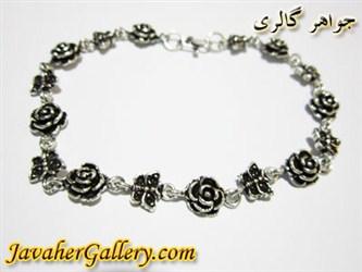 دستبند نقره طرح گل و پروانه