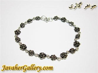 دستبند نقره طرح گل کوچک و بزرگ