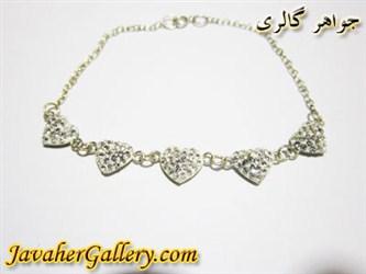 دستبند نقره قلبی سفید
