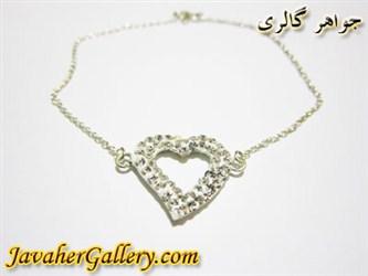 دستبند نقره قلب سفید