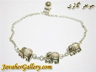 پابند نقره زنگوله ای طرح فیل