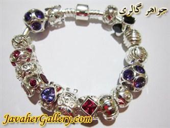 دستبند نقره پاندورا با حلقه های یاقوت و آمیتیست بسیار لوکس و زیبا