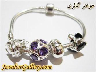 دستبند پاندورا pandora نقره با سنگهای آمیتیست و اونیکس زیبا