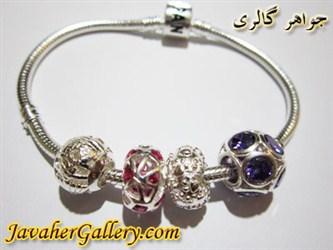 دستبند نقره پاندورا با سنگهای یاقوت و آمیتیست لوکس و نفیس