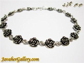 دستبند نقره طرح گل