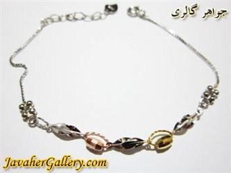دستبند نقره با حلقه های طلایی و نارنجی دخترانه و زنانه زیبا