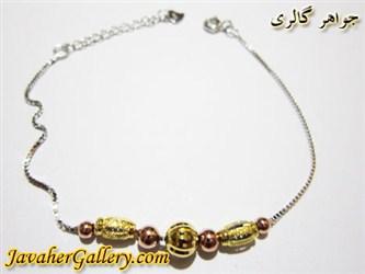 دستبند نقره با حلقه های طلایی و نارنجی دخترانه و زنانه لوکس و زیبا