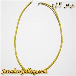 گردنبند نقره و چرمی مردانه و زنانه زرد