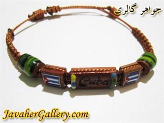 دستبند سبز آبی ساخته شده از گل پخته