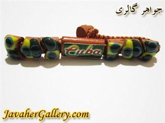 دستبند سبز کوبا ساخته شده از گل پخته
