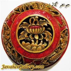 ظرف منقش سنگی بسیار نفیس و زیبا رنگ قرمز و قهوه ای