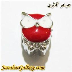 آویز نقره گردنبند و دستبند پاندورا طرح جغد قرمز و سفید