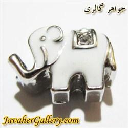 آویز نقره گردنبند و دستبند پاندورا سفید طرح فیل با نگینهای درخشان