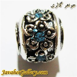 آویز نقره گردنبند و دستبند پاندورا طرح گل با نگینهای آبی کمرنگ