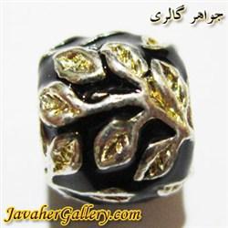 آویز نقره گردنبند و دستبند پاندورا مشکی با برگهای طلایی