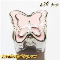 آویز نقره گردنبند و دستبند پاندورا صورتی طرح پروانه