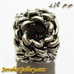 آویز نقره گردنبند و دستبند پاندورا طرح گل با نگینهای بنفش