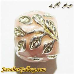 آویز نقره گردنبند و دستبند پاندورا صورتی با برگهای طلایی
